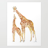 Mother and Baby Giraffes Art Print by Susan Windsor