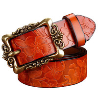Hot Sale New Fashion Wide Genuine leather belt woman vintage Floral Cow skin belts women Top quality strap female for jeans