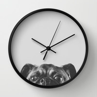 Spies: Pug Wall Clock by Juliana Frug
