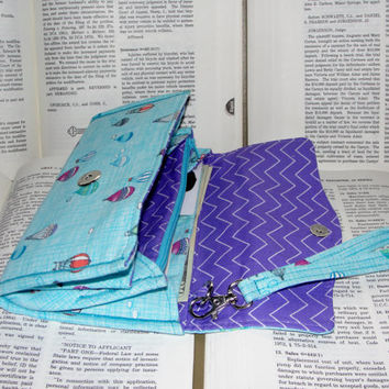 Necessary Clutch Wallet, RTS, Great Gift, Handmade with Hot Air balloon fabric and purple zig zag lining, NCW, Credit Card, iPhone, wristlet