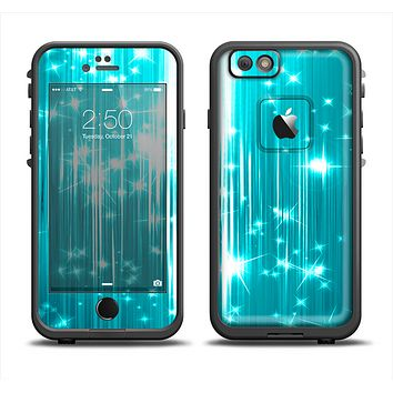 The Bright Blue Glistening Streaks Apple iPhone 6 LifeProof Fre Case Skin Set