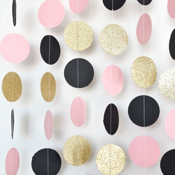 Blush Pink Black & Gold 10ft Paper Garland, Birthday Party Decor, Wedding Shower Decor, Nursery Decor