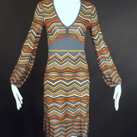 MISSONI-Wool Stripe Knit Dress, Bust-34