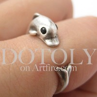 Miniature Dolphin Fish Animal Hug Wrap Ring in Silver - Size 4 to 7