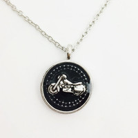 Motorcycle necklace / biker jewelry / silver jewelry / metal jewelry / motorcycle jewelry / pendant / biker necklace / alternative jewelry
