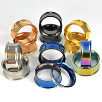 Pair Of Stainless Steel Flesh Tunnels Ear Plugs Screw Fit Ear Gauges Multistyles