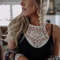 Floral Cut Out High Neck Bralette - Ivory
