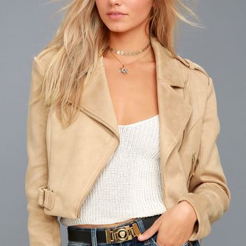 Tree-Lined Road Beige Suede Moto Jacket