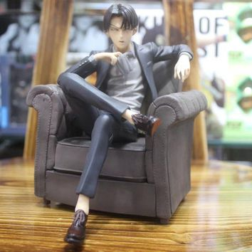 Cool Attack on Titan 16CM Japanese anime figure  Rivaille Ackerman sitting ver action figure collectible model toys for boys AT_90_11