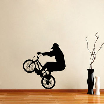 Housewares Wall Vinyl Decal Any Room Bike Sport Jumping Bicycle Cycle Mural Sticker V151