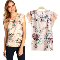 Floral Print Chiffon Butterfly Sleeve Top