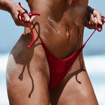 Hot Sexy Swimwear Women 2017 Cheeky Bikini Bottom Adjustable Side Ties Brazilian Thong Swimsuit Classic Cut Bottoms Biquini Swim