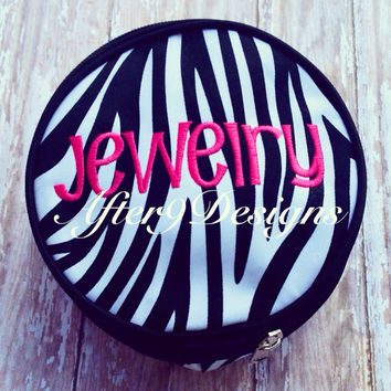 Personalized monogram Round zipper bag jewelry by AfterNineDesigns