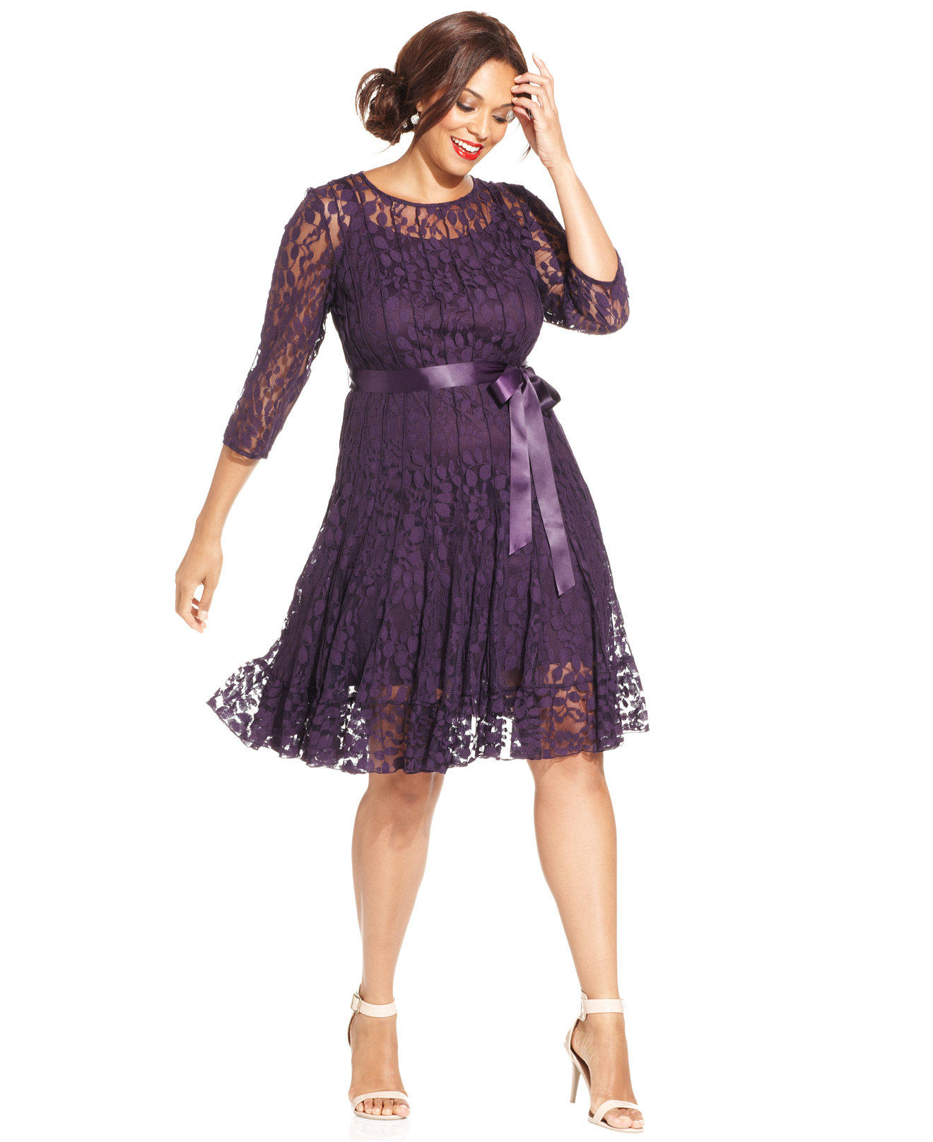 Msk plus size illusion floral lace dress from macys obsessed for Macy s wedding dresses plus size