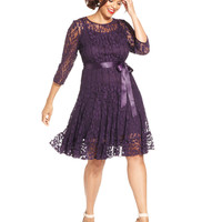 MSK Plus Size Illusion Floral Lace Dress