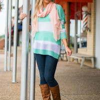 Candy Stripe Sweater, Mint/White