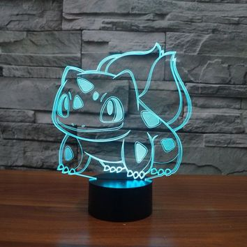 Pokemon Go Bulbasaur figurines table lamp toys 2016 New Pokemon 3D LED 7 color changing birthday party atmosphere decoration toy
