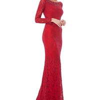 Carmen Marc Valvo Infusion Sequin Lace Gown   Dillards