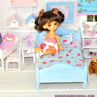 Shabby Chic blue bed + bedding set miniature furniture for BJD Lati Yellow Lati white SP Pukiffee Mini Pullip doll diorama dollhouse