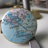 Double Vintage Map Locket