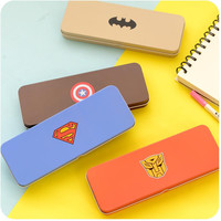 4 designs Superman series stationery school iron pencil box pens pencil case for students school supplies free shipping 04830