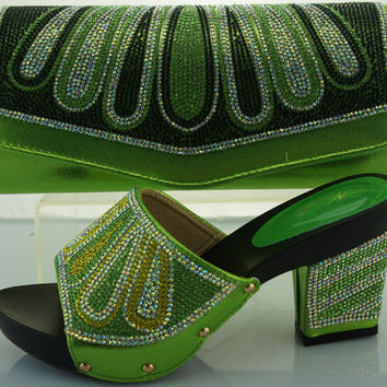 Green  shoe and bag set with rhinestones