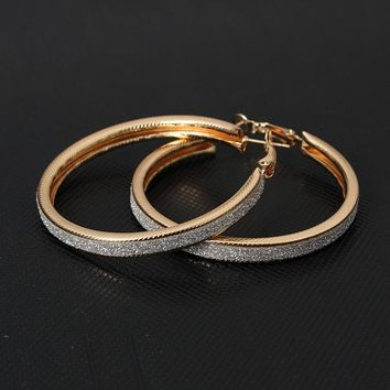 Vintage Gold Color Big Circle Hoop Earrings for Women Steampunk Ear Clip Party Jewelry Accessories Gift