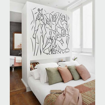 "Wall Art inspired by Picasso's ""The Young Ladies of Avignon"" vinyl wall decal - removable wall sticker for your minimalistic space decor"