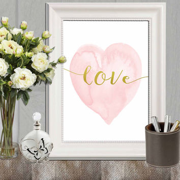 Heart print Pink Nursery heart wall art Pink gold heart art Love Watercolor heart decor Pink and gold Nursery art DOWNLOAD 11x14, 5x7, 8x10