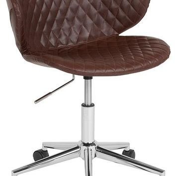 Cambridge Home and Office Upholstered Low Back Chair in Brown Vinyl [LF-9-17-BRN-GG]
