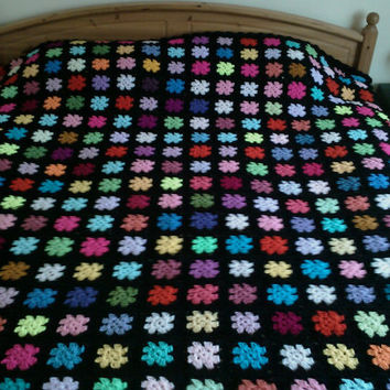 Handmade  crochet blanket -  Made in tradition granny type multi colour style with black border (nannycheryl original) very large   785