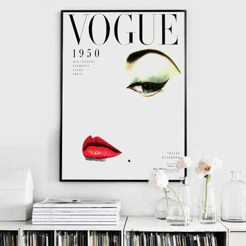 Fashion Poster- Vintage Vogue Cover - 1950 Vogue Cover - Fashion Print - Printable Poster - Printable Wall Art  - Wall Art Decor - Vintage