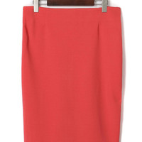 Orange Pencil Midi Skirt