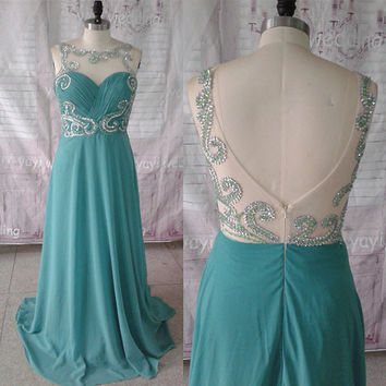 Hunter Chiffon Scoop Neckline Exquisite Beadworks Floor Length Formal Evening Dress Prom Dress Prom Gowns ET148