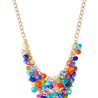Haskell Gold-Tone Mixed Multicolor Shaky Bead Frontal Necklace