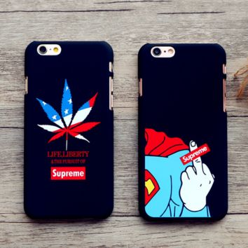 The New Trendy  Supreme Superman Iphone 7  7 Plus & 6 6s Plus & 5s Cover Case + Gift Box