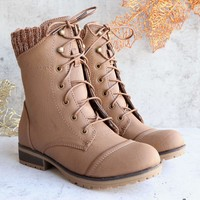in the woods ankle sweater boots taupe