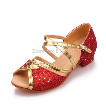 Gold Rose Redsalsa latin dance pu de salto para mulheres kids PU ballroom tango Latin Square 3.5cm heel dance shoes 5122