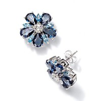 DiamonLuxe Crystal Sterling Silver Flower Stud Earrings - Made with Swarovski Elements
