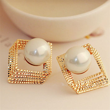 Golden Square & Pearl Earrings