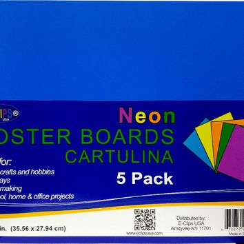 "Poster Board - Neon Colors - 5 pack - 11"""" x 14"""" Case Pack 36"