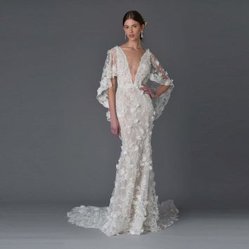 Sexy Beach Wedding Dresses 2017 Flower Beaded Lace Bohemian Bridal Gown Mermaid Wedding Dresses with Cape Robe de Mariage MA04