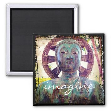 """Imagine"" quote Asian turquoise statue head photo Magnet"
