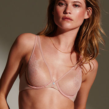 Unlined Mesh & Lace Demi Bra - Fabulous by Victoria's Secret - Victoria's Secret