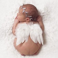 Newborn Photography Props Infant Baby Girls White Angel Feather Wings Feather Photo Prop Wings Clothing Girls Hair Accessories
