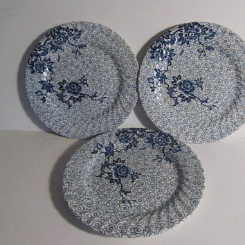 Blue Lotus Pattern Johnson Bros China Blue and White Plates Blue Ironstone Plates Blue Floral Blue Chintz