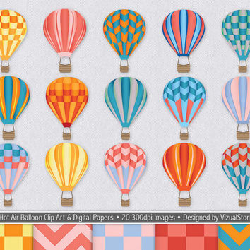 Hot Air Balloon Clip Art and Digital Paper Bundle, colorful digital balloons clipart, chevron and checkered digital papers, Buy 2 Get 1 Free