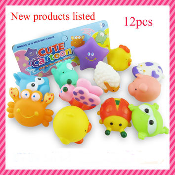 2016 new 12Pcs Lovely Mixed Animals Colorful Soft Rubber Float Squeeze Sound Squeaky Bathing Toy For Baby