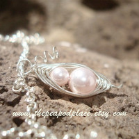 Mother & Daughter pink pea pod necklace - Custom design add more peas FREE - Grandmother - Expectant mom - mother of bride