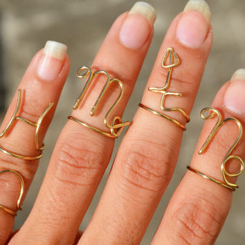 Cancer Virgo Libra Capricorn Pisces Scorpio Sagittarius Zodiac Ring Set, Above Knuckle Rings Wire Wrapped Jewelry